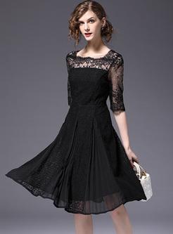 Black Lace Perspective A-line Dress