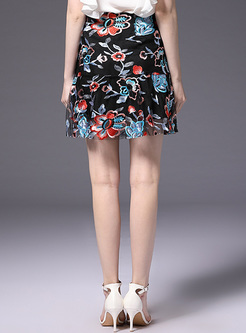 Street Mesh Embroidery Skirt