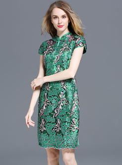 Vintage Embroidery Improved Cheongsam Dress
