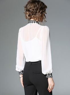 Elegant Color-blocked Lantern Sleeve Blouse