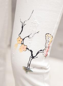 Slim Butterfly Pattern Pencil Pants
