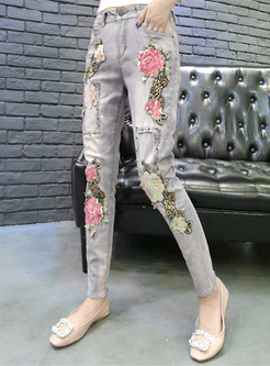 Street Embroidery Beaded Slim Jeans