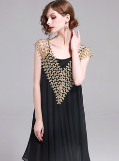 Black Stylish Sleeveless Big Hem Shift Dress
