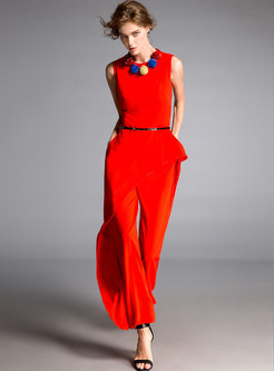 Red Splicing Falbala Sleeveless Jumpsuits