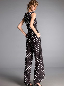 Dot Print Belted Sleeveless Jumpsuits
