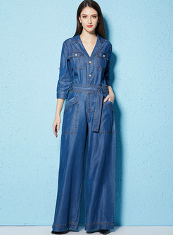 Blue High Waist Denim Wide Leg Jumpsuits