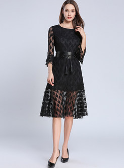 Black Lace Perspective Falbala Skater Dress