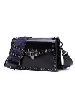 Chic Rivet Clasp Lock Crossbody Bag