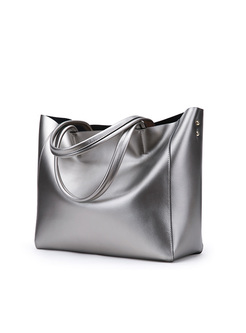 Brief Silver Genuine Leather Tote Bag