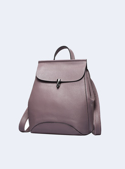 Brief Push Lock Cowhide Backpack