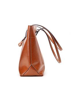 Brief Split Cowhide Top Handle Bag