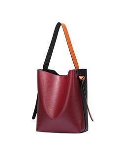 Casual Split Cowhide Color-blocked Barrel Bag