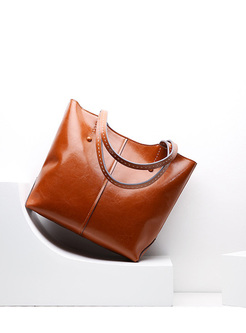 Brief Split Cowhide Tote Bag