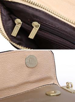 Brief Zipper Bucket Cowhide Clutch