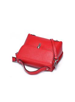 Brief Cowhide Push Lock Crossbody & Satchel Bag