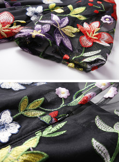 Black High Waist Embroidered A-line Dress
