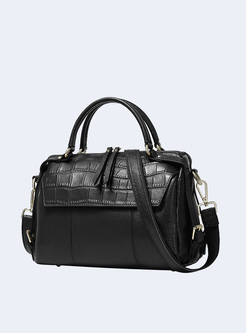 Brief Cowhide Top Handle Boston Bag