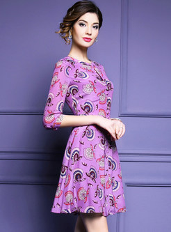 Vintage Silk Floral Print A-line Dress