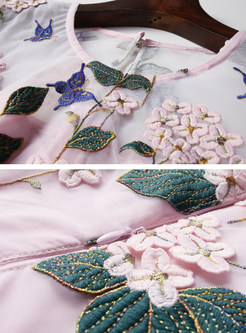 Pink Mesh Embroidered Skater Dress
