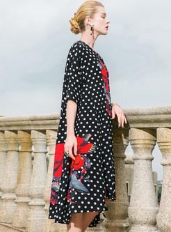 Dot Print Color-blocked Loose Shift Dress