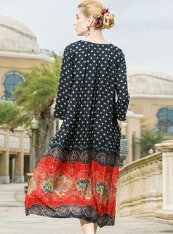 Vintage Silk Print Loose Shift Dress