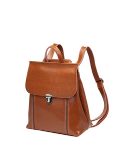 Chic Push Lock Split Cowhide Backpack