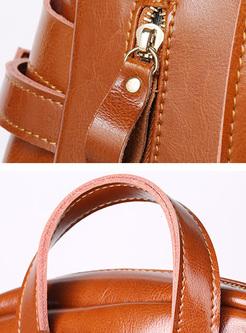 Casual Split Cowhide Backpack