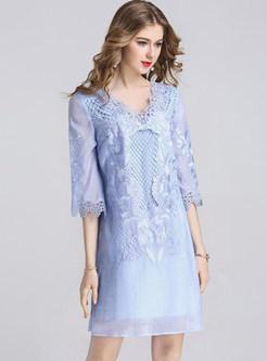 Blue V-neck Lace Embroidered Shift Dress