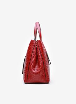 Chic Cowhide Buckle Closure Top Handle Bag