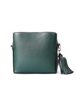 Brief Leather-tassel Crossbody Bag