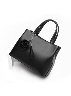 Brief Stereoscopic Rose Split Cowhide Top Handle Bag