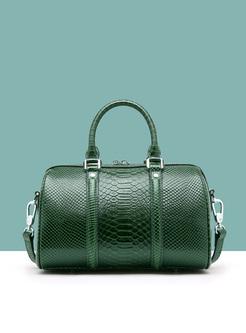 Elegant Cowhide Zipper Closure Boston Bag
