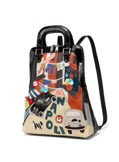 Chic Cars Pattern Color-blocked Backpack