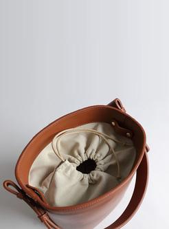 Casual Split Cowhide Bucket Bag