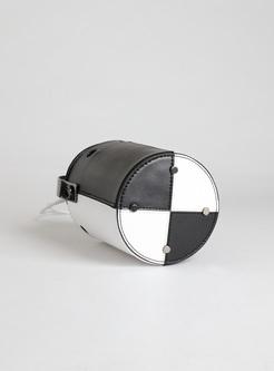 Chic Color-blocked Hollow Barrel Bag