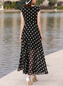 Brief V-neck Dot Print Maxi Dress
