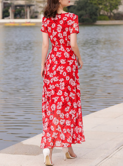 Street Flower Print V-neck Maxi Dress