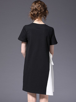 Casual Contrast Color Splicing T-shirt Dress