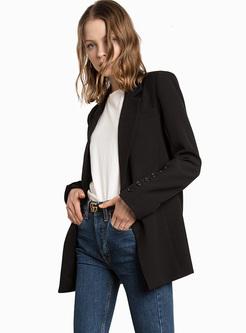 Brief Black Buttoned Slim Blazer
