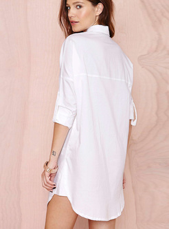 Brief White Lapel Asymmetric Hem Blouse