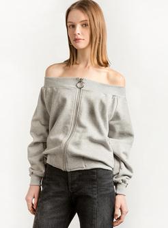Grey Sexy Slash Neck Sweatshirt