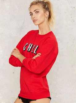 Casual Red Letter Print Sweatshirt