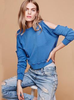 Brief Blue Off Shoulder Sweatshirt