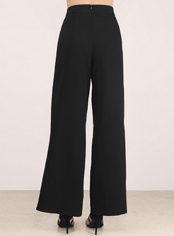 Black High Waist Split Wide Leg Pants
