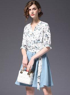 Floral Print V-neck Blouse & Blue Denim Skirt