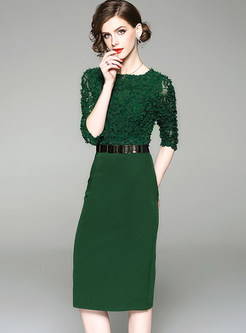 Green Hollow Out Belted Bodycon Dress