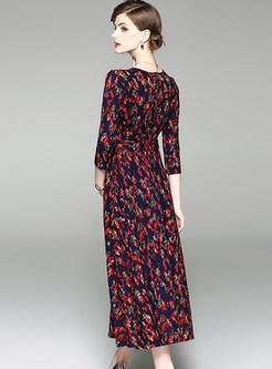 Vintage Floral Print V-neck Maxi Dress