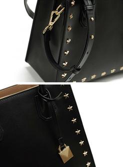 Star Rivets Cowhide Leather Crossbody & Top Handle Bag