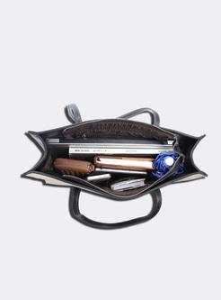 Brief Contrast Color Zipper Pocket Tote Bag