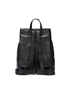 Stylish Drawstring Lock Cowhide Leather Backpack